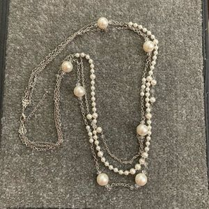 Long 3-strand silver pearl and crystal necklace